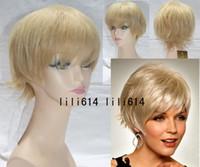 Wholesale New arrival Capless Human Hair Blonde Short Straight Hair Wig