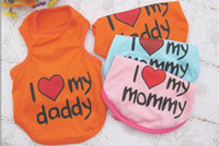 Wholesale Summer Pet Dog Clothes I Love My Daddy Mommy Vest