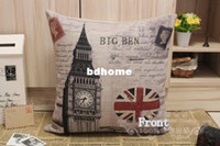 Wholesale Printed England Banner and big ben Cotton Linen Cushion Cover Pillow Cover x45CM Option B