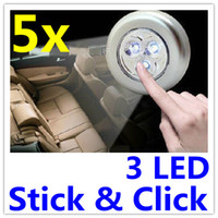 AAA battery push light - 3 LED Lights Stick Click Tap Cordless Touch Push Lamp Battery AAA Powered For Car Cheap price