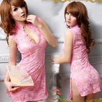 Wholesale Amazing Pink Lace Lingerie Sexy Short Sheer Cheongsam Ladies Thongs Fashion Cheap Womens Underwear Sleeveless Nightwear HOT SALE L1058