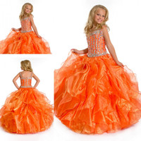 Wholesale For sale Fashion orange color kids floor length long organza beaded square little girl s pageant dresses ZFD