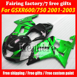 Free 7 gifts custom race fairing kit for SUZUKI GSXR600 01 02 03 GSX R600 R750 2001 2002 2003 GSXR 600 750 K1 fairings r3a black green body