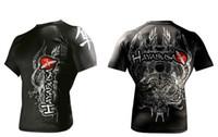 Men mma shirt - L XL special price MMA fight tops t shirt Hayabusa Rashguard Shapers black wite