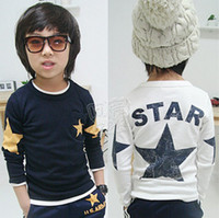 Boy Spring / Autumn 100% Cotton Free shipping! Spring and autumn children's long-sleeved T-shirt kids clothes wholesale baby boy tops tees 5pcs lot