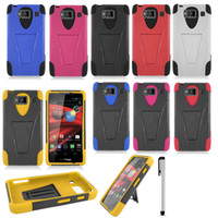 Plastic For Motorola  For Motorola Droid RAZR Maxx HD XT926T V3 Kickstand Double Layer Hard Case Cover
