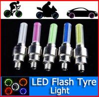 Wholesale 5 Colors Flash flashing fire flys LED Tyre Light for Car Bicycle Tyre Wheel light Valve sealing Cap Stem