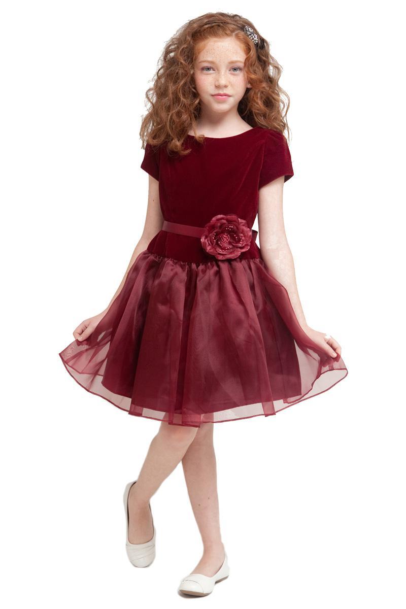 Lovely Purple Velvet Scoop Knee Flower Girls' Dresses Girl's ...