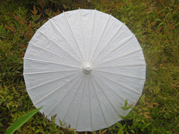 Wholesale Paper Umbrellas DIY Painting Umbrella Children Parasols Handmade Diameter Plain White Color Chinese Straight Bamboo Craft Sunshade