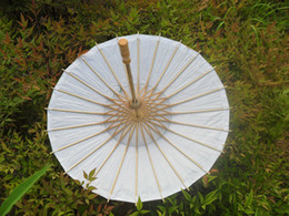Wholesale Paper Parasols Children Umbrella Small DIY Painting Parasol Handmade inches Diameter White Color Chinese Straight Bamboo Small Sunshade