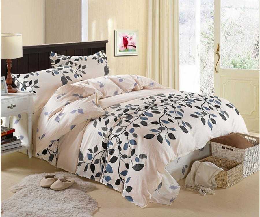 Cream Grey Blue Queen Size Cotton Bedding Sets Duvet Cover