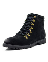 Wholesale Retro Black PU Leather Lace Up Men s Booties u6 MQ