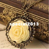 Women's Fashion Necklaces Min.order is $5 (mix order)Free Shipping,Elegant Vintage Necklace,Cream Rose Disk Pierced Lace Chain, (N026)