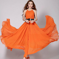 plus size maxi dress - Long maxi dress plus size women expansion bottom long chiffon dress halter sleeveless evening dress party dress