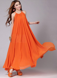 Wholesale New arrival plus size beach bohemian expansion bottom maxi chiffon dress elegant dress