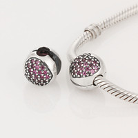 Wholesale Authentic Sterling Silver Love of My Life Clip with Rose Zirconia Heart Fits European Pandora Charm Bracelets