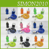 Wholesale 3 in Charger Kits AC Home Wall Adapter Mini Car Charger Micro USB Cable Cord for Samsung Galaxy S2 S3 S4 Note Blackberry Colorful