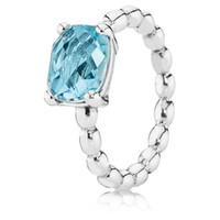 Wholesale Authentic Sterling Silver Blue Topaz Ring Match with Pandora Jewelry