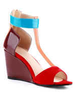 Wholesale Multi Color Open Toe T strap Wedge Shoes for Woman u7 ajy