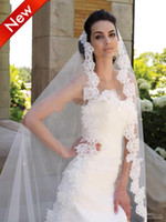 Wholesale Cathedral Cut Ivory White M T Long Wide Lace Purfle Beaded Bridal Veils Tulle Wedding Dress Veil Custom Bridal Veils Mantilla