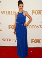 Wholesale Blue Katie Holmes Floor Length Golden Sash Chiffon Emmy Awards Dress u11 wFw