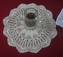 Wholesale cotton hand made crochet doily lace cup mat vase mat coaster x40cm table mat customization tm607