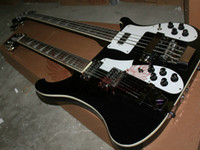 Solid Body 12 Strings Mahogany Black Double Neck 4 Strings Electric Bass Guitar and 12 Strings Electric Guitar A12