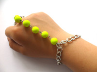 Wholesale Womens Rings Bracelets Connected Jewelry Fluorescence Beads Slave Ring Bracelet Hot Sale