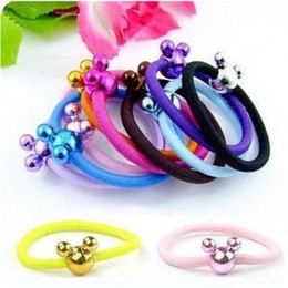 Lovely mickey Candy color hair rope Hair band Fashion hair ring elastic rubber band 100pcs lot