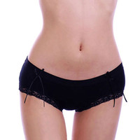 Wholesale promotion bamboo fiber lace bowknot panty sexy underwear low waist hip girl s fashion multicolor panties briefs