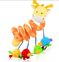 Wholesale Hot Sale Giraffe Baby Colorful Birds Stuffed Toy Crib Toys Rattle Teether Infant Plush Development Toys Baby Car Bed Decoration FREE SHIPPIN
