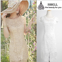 Wholesale Woman Dress Fashion Slim Waist Embroidered Flowers Crochet Openwork Lace Dress
