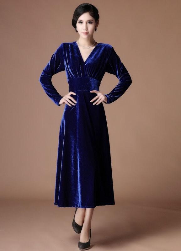 A Line Royal Blue Velvet V Neck Tea Length Fashion Cocktail Dress ...