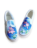 Wholesale Pretty Blue Canvas TPR Sole Painted Shoes For Women sport u5 owG