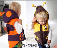 Wholesale Hot Sale Super Cute children s thick winter Baby Boys and girls Cartoon characters bee vest boys waistcoat