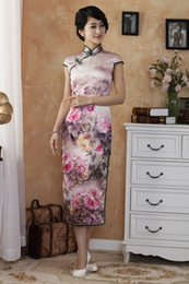 Wholesale Women s slim elegant vintage silk wash painting Chinese cheongsam two high slits middle length daily wear cheongsam qipao dress