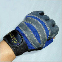 Wholesale Double durable real leather half finger fitness gloves mens gloves wrist protective fitness gloves