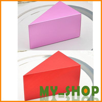 Wholesale Wedding Candy Boxes Paper Red Purple Aluminum Foil Triangle Cake Box Wedding Accessories HQ0079