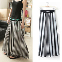 Wholesale Fashion Women Dress new black and white striped Chiffon Ankle big skirt mopping floor maxi dress