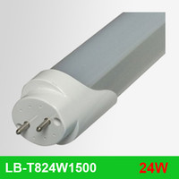 T8 24W SMD3014 Free Fedex Shipping 100pcs lot 24W 1.5M 1500mm 2400lm T8 4 feet 85-265 VAC SMD3014 LED Tube Light Bulb Lamp Fluorescent or clear cover