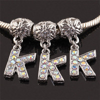 Letters & Numbers ab k - AB Rhinestone Alphabet Letter K K Alloy European Spacer Charms Beads Fit Bracelet Diy Jewelry Accessories