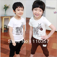 Children Sets Character 2013 Summer New Design!!! Fashion Zebra tracksuits,Short Sleeves T-shirt+short pants 2 pcs set, Baby Boy Girl soft clothing set