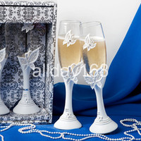 Wholesale Practical Favors Wedding Toasting perfect butterfly design Glass cup Doomed Crystal Red Wine Goblet bride and groom pair cup Senior gift box
