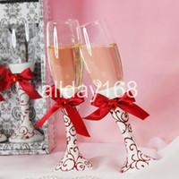 Wholesale Practical Favors Wedding Toasting perfect red bow design Glass cup Doomed Crystal Red Wine Goblet bride and groom pair cup Senior gift box