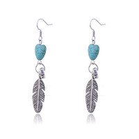 Wholesale Turkey feathery turquoise blue peach heart pendant earrings paris plume stainless steel diamonds logo ethnic silver jewelry big for women