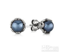 Wholesale 2013 New Arrivals Brand Hot European Silver Earring for PANDORA Cabochon Stud Earrings pairs