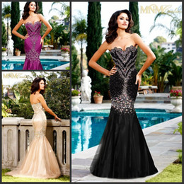 Wholesale Fashion Custom made Fit and Flare Prom Gowns Bling Bling Beaded Sequined Mermaid Formal Evening Dresses