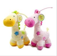 al por mayor plush toys with music-El bebé 0-3Year juega los juguetes de la felpa de los animales rellenos de la jirafa la caja de música Vihuela la campana 4pcs / lot de la cama del violín