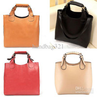 Wholesale New Fashion Ladies Simple Tote Bag Handbag Pu Leather Black Brown Beige Red