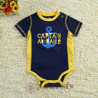 Wholesale Baby rompers Infant Bodysuits baby Short sleeved One piece baby Navy Rompers TBD05